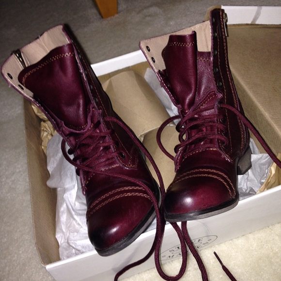 Wine Colored Steve Madden Troopa Combat